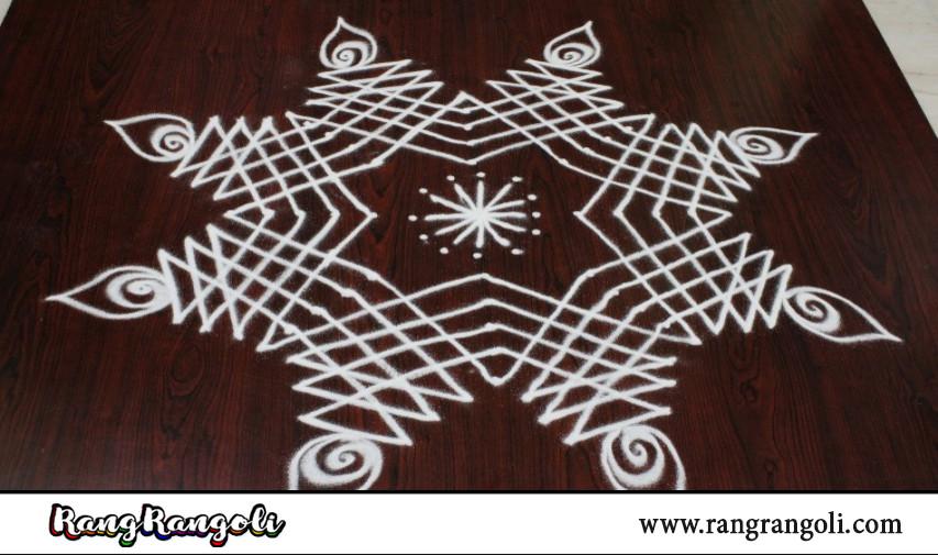 Creative Padi kolam with 3*3 dots | Geethala Muggulu | Lines Rangoli designs | RangRangoli