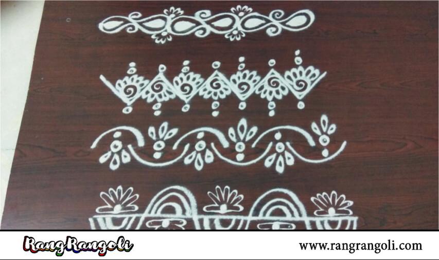 How to draw simple border designs | Quick and easy border rangoli | Side border kolams | RangRangoli