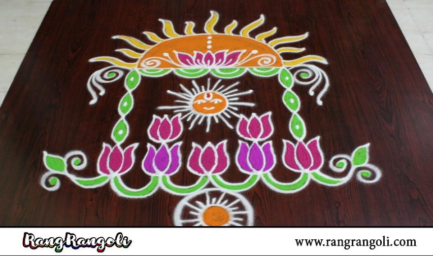 Ratha Saptami Ratham Muggulu with 5*5 dots | Ratham rangoli | Ratha Saptami Ratham Kolam|RangRangoli