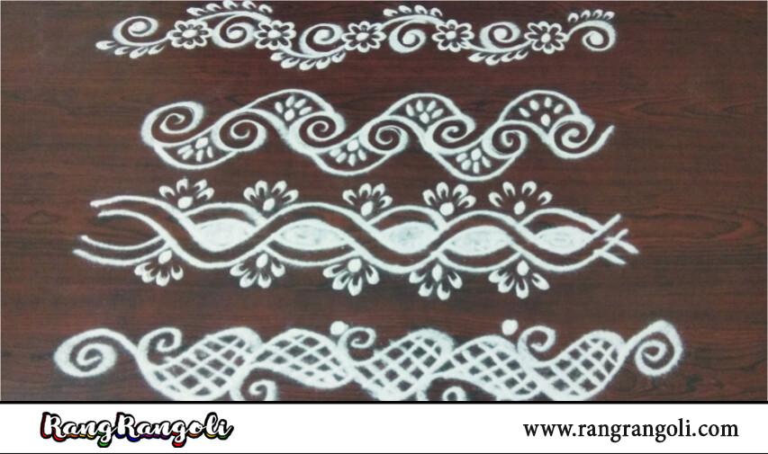 Easy Rangoli Border Designs for Beginners | Simple Side Border Designs | Border Kolams | RangRangoli