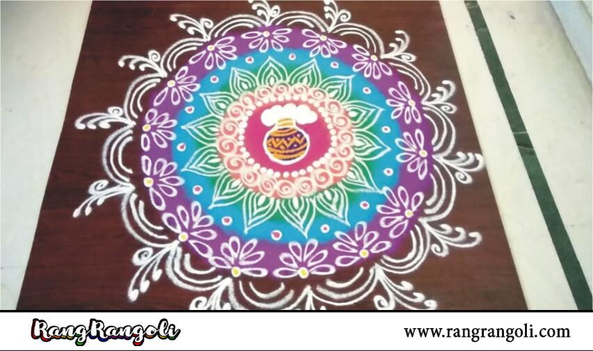 bhogi kundala muggulu | sankranthi muggulu | Pot Rangoli designs| Pongal Kolam | RangRangoli